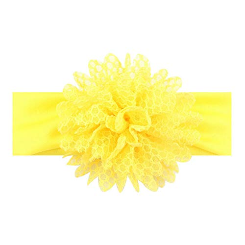 (Kids Girls Baby Headband Flower Hair Band Accessories Headwear DIY Mesh Gift NT (Color - Yellow))