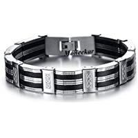 Moneekar Jewels Masculine Style Stainless Steel Braid Link Bracelets for Men High Polished Bracelets for Mens Boys