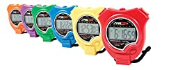Sportime TimeTracker Basic Stopwatch - Set of 6 - Assorted Colors