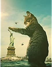 """Notebook: Fantasy Cat Statue of Liberty New York United States 8.5"""" x 11"""" 150 Ruled Pages"""