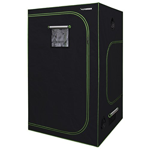 VIVOSUN 48'x48'x80' Mylar Hydroponic Grow Tent with Observation Window and Floor Tray for Indoor Plant Growing 4' x4'