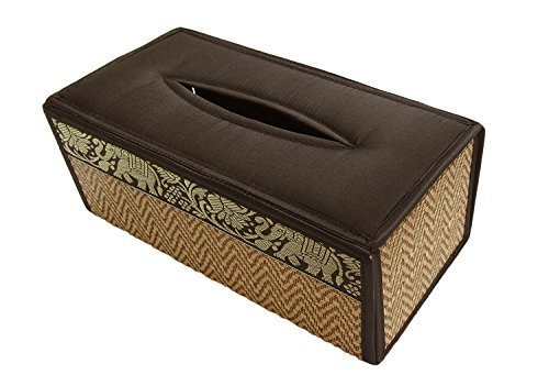 Handmade Thai Woven Straw Reed Tissue Box Holder with Silk Elephant Design, Brown Color