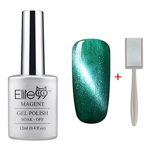 Elite99 Magnetic 3D Cat Eye Gel Polish Soak Off UV LED Nail Art Free Magnet 6567 Pearl Porcelain - Eye Green Cat