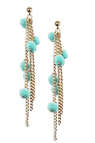 Mina Cascading Pom Pom 3.4 Inch Drop Long Chain Drop Shoulder Duster Statement Green Earring