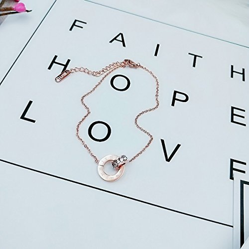 usongs Foot Chain anklet fortunes steel cross section Roman numeral interlocking foot rope zircon personalized jewelry gifts