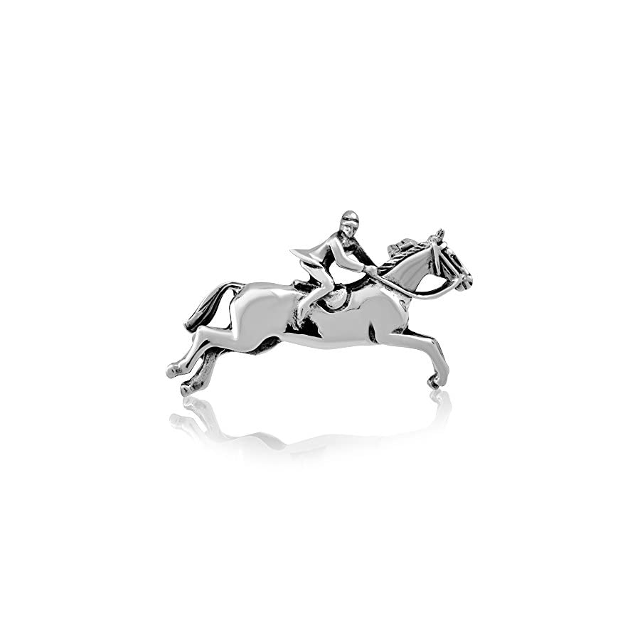 WithLoveSilver 925 Sterling Silver Jumping Horse Horseshoe Equestrian Brooch Pin