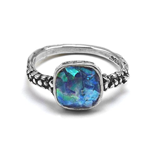 Ancient Roman Glass Ring Square Shape Multicolored Sterling Silver, 9