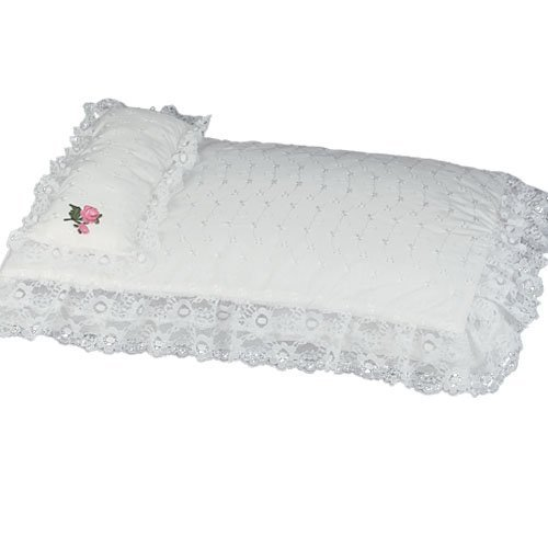 Sophia's White Eyelet Doll Bedding 3pc. Set, Sized to Fit American Girl Doll Beds & More! - Includes Pillow, Doll Comforter & 3rd Bedding Piece - Trim Cradle Bedding