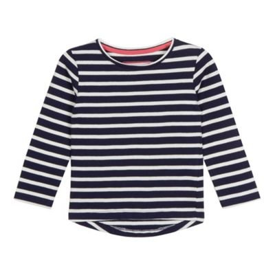 bluezoo Kids Girls' Navy Striped Print Long Sleeved Top