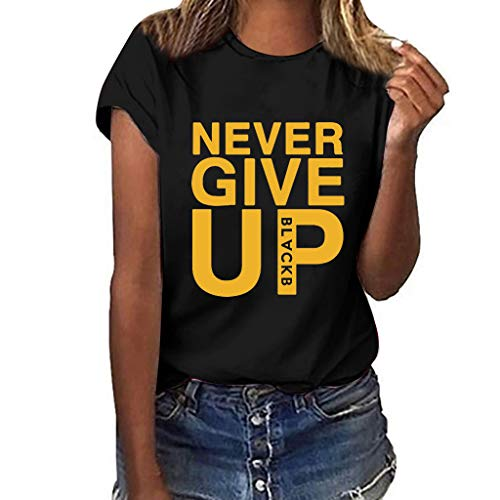 (Eoeth Plus Size Print Short Sleeve for Women (Never GIVE UP) Casual Baggy T-Shirt Loose Shirt Blouse Simple Sports Tops Black )