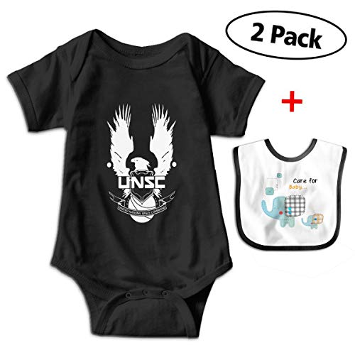 Chen Yun Baby Bodysuits Halo 4 Guardians Campaign Short Sleeve Infant One-Piece with Baby Bib (Halo 4 Master Chief Suit)
