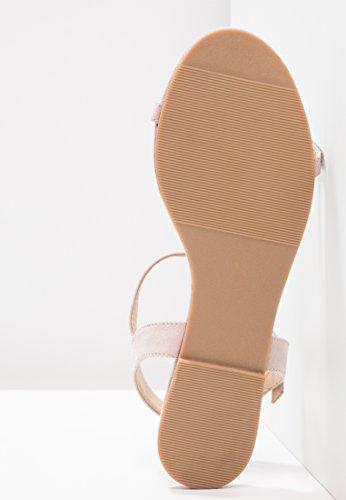 Anna Field Damen Sandale mit Glitzer-Ziersteinen & Flachem Absatz - Elegante Sandaletten mit Zarten Riemchen - Flache Sandalen Für Den Sommer Nude