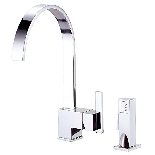 Single Handle Kitchen Faucet with Side Spray, Chrome (Sirius Sink Faucet)