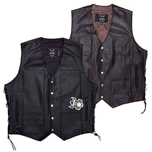 - JAYEFO Leather Vest (2XL, Black)