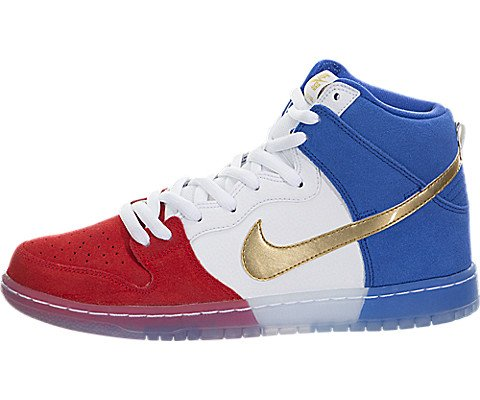 Nike DUNK HIGH PREMIUM SB mens skateboarding-shoes 313171-674_10.5 - CHALLENGE RED/GAME ROYAL/WHITE/METALLIC GOLD (High Top Nike Shoes compare prices)