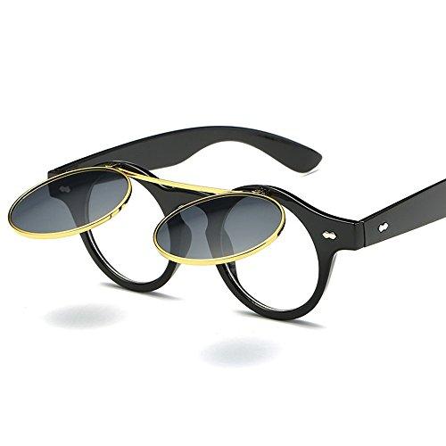 Retro Box De Cristales Gafas Decorativos De Gray Cubierta Gafas Gafas Y Doble Mujeres Sol M Light Estilo General Sol Sol black De Hombres Propósito WHLDK Tornillos 5t4qxq