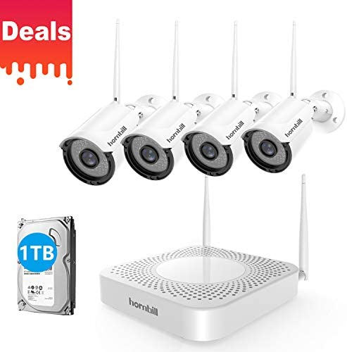 Hornbill Wireless Security Camera System 8CH 1080P Expandable Home Surveillance DVR Kits with 4pcs Outdoor Security Camera Clear Night Vision 1TB Hard Drive Plug Play No Montly Fee