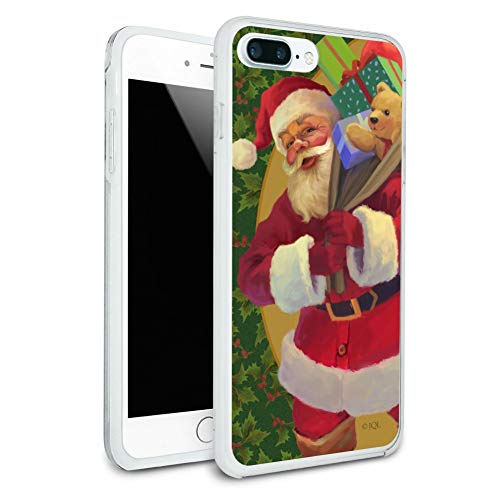 (Christmas Holiday Greetings Santa Claus Holly Protective Slim Fit Hybrid Rubber Bumper Case for Apple iPhone 7 Plus)