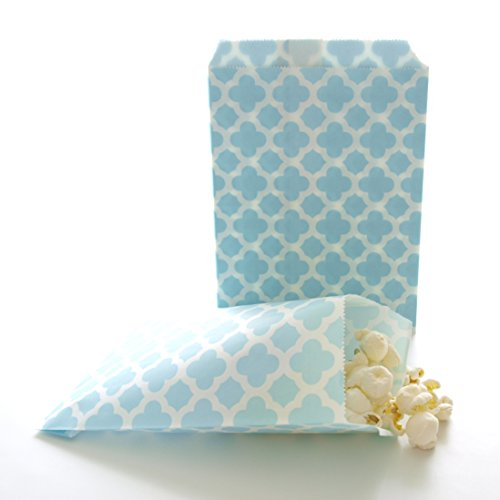Frozen Icicle Light Blue Wedding Favor Candy Bags, Spanish Tile Design (25 Pack) - Winter Birthday Party Treat Sacks, Boy Baby Shower Favor (Halloween Baby Shower Cake Ideas)