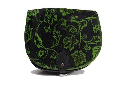 Negro y verde floral hojas verdaderas piel de vacuno de una silla de Crossbody del bolso con cierre de hebilla y correa ajustable