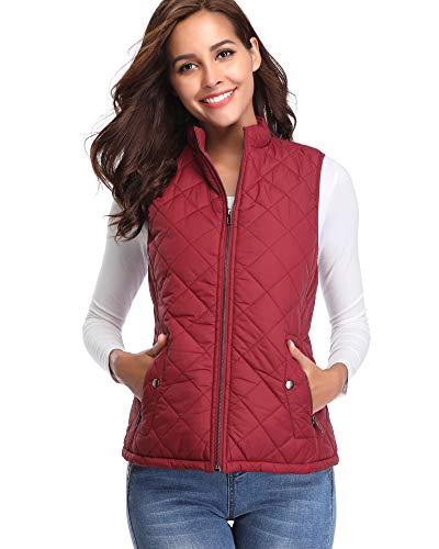 Argstar Women's Stand Collar Lightweight Padded Zip Vest Quilted Gilet by Argstar