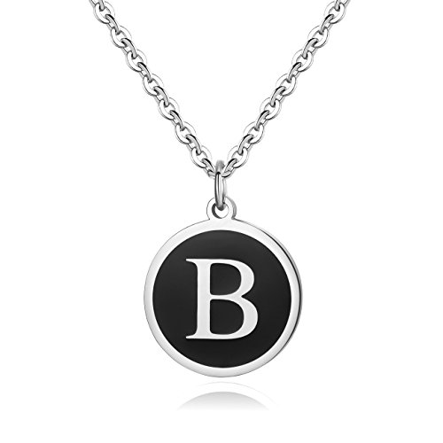 REVEMCN Stainless Steel Alphabet and Bible Verse Proverbs 4:23 Pendant Necklace for Men Women with Keyring and 22'' Chain (Silver-Tone: -