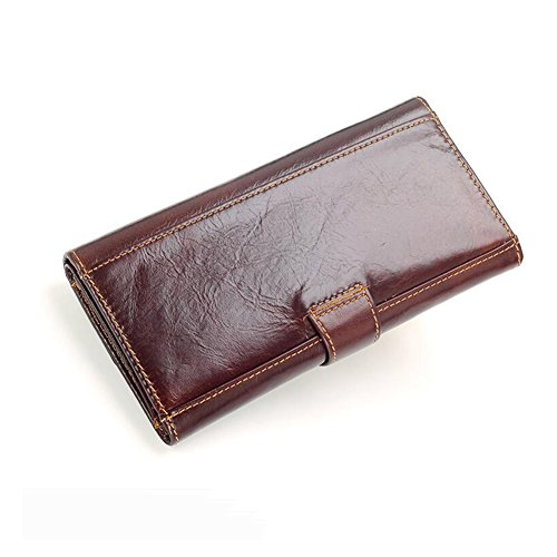 Fold Wallet Men WALLETS Package Long Card Brown Dark High Capacity Honey Multifunction Section wqaTC5ZC