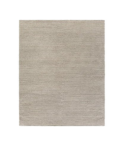 Diva At Home 9' x 13' Beachy Boardwalk Fog Gray and Bay Leaf Brown Hand Woven Wool Area Throw Rug ()