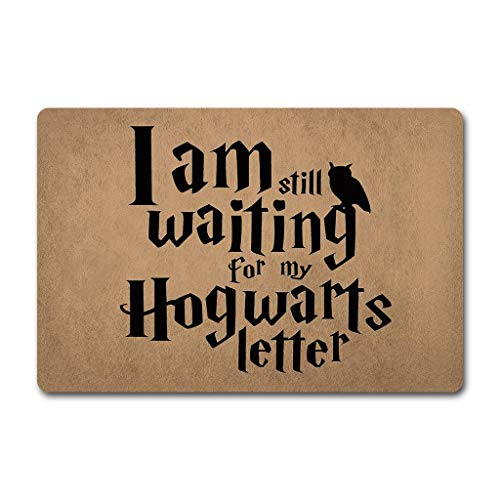 ZQH WelcomeDoor Mats I Am Still Waiting for My Hogwarts Letter Doormat Harry Potter Quotes Doormat Hogwarts Door Rugs (23.6 X 15.7 in) Non-Woven Fabric Top with a Anti-Slip Rubber Back Hello Doormat