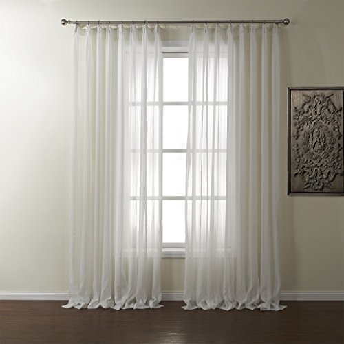 PASSENGER PIGEON Striped Solid White Sheer Curtains Double Pleated Top Window Treatments Draperies Panels With Multi Size Custom 100