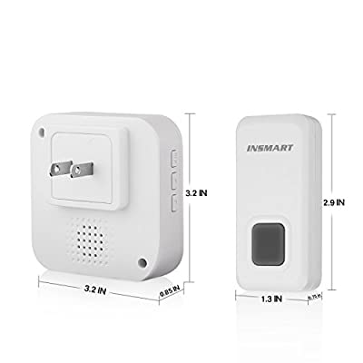 INSMART Wireless Doorbell, Plug-in Push Button with 55 Chimes, 5-Level Cycle Adjustable Volume, IP 55,Doorbell Operating at over 1000-feet(300m) Range
