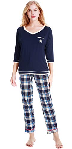 N NORA TWIPS Lightweight Knit Pajama Set V-Neck Nightshirts with Pj Pants Blue Plaid S