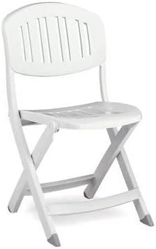 NARDI sedia da giardino//pieghevole sedia Capri pieghevole in plastica bianco