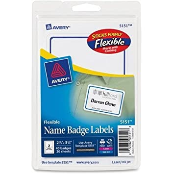 Amazon.Com : Avery 5151, Blue Border Flexible Name Badge Label