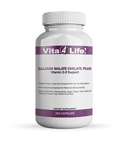 Vita4life, 300 Mg, Calcium Malate Chelate 'Plus' Vitamin D3 Support - 260 Count