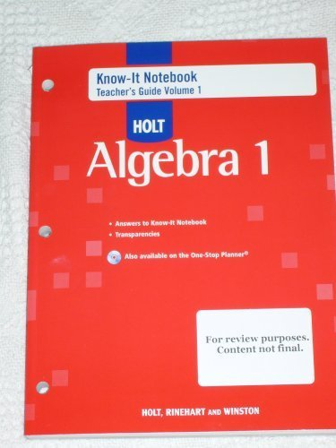 Holt Algebra 1 : Know-It Notebook, Teacher's Guide, Volume 1 -  Teacher's Edition, Paperback