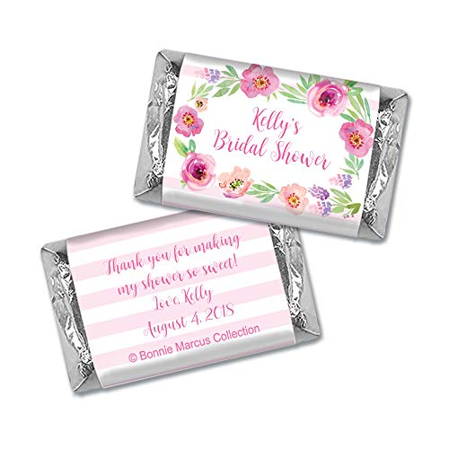 Bridal Shower HERSHEY MINI Wrappers Bonnie Marcus Floral Embrace (100 -