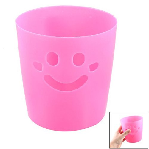 [SODIAL(R) Fuchsia Smile Face Hollow Design Stationery Pen Pencil Vase Pot Brush Barrel] (Hollow Face)