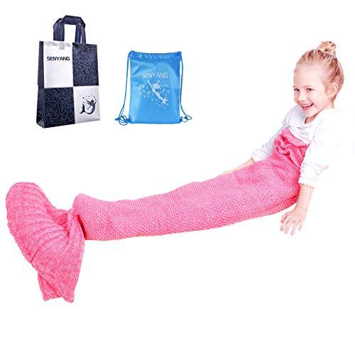 Mermaid Tail Blanket – Mermaid Blanket for Girls,All Seasons Soft and Warm Sleeping Mermaid Blanket for Kids Best Choice for Girls Gift Christmas Gift (Kids Pink)