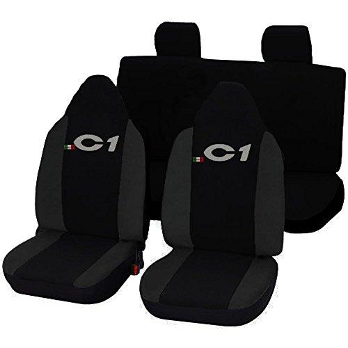 Lupex Shop 17239-01 Citroen C1 tweekleurige stoelhoezen – zwart donkergrijs