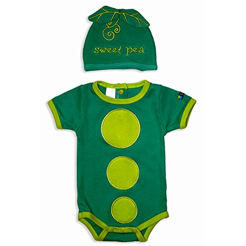 Unisex Sweet Pea Bodysuit & Cap Set, Green Infant Onesie, 3-6 Months ()