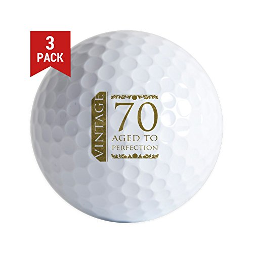 CafePress Fancy Vintage 70Th Birthday Golf Balls (3-Pack), Unique Printed Golf Balls
