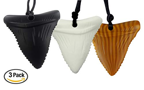 3-Pack Shark Tooth Silicone Chews - Gender Neutral Teething Necklace for Children - Oral Sensory Chewy Teether Necklaces for Autistic Chewers - Chewelry for Baby Boys and Girls