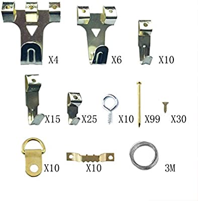 Photo Frames or Cross-Stitch SUPVOX Picture Hanging Kit Picture Hanging Wire for Hanging Picture Include D-Ring Picture Hangers with Screws