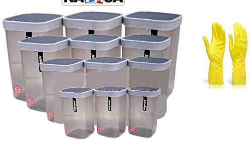 Nayasa Fusion Deluxe Containers Box/Polypropylene Grocery Container, Pack of 12 (1500ml 3Pcs, 1000ml 3Pcs, 750ml 3Pcs, 550ml 3Pcs), (Grey) and Cleaning Gloves 1 Pair Price & Reviews