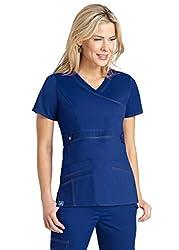 Adar Pop-stretch Women's Junior Fit Taskwear Tab-waist Crossover Scrub Top - 3200 - Royal Blue - M