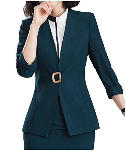 Style Business neck Ragazze Darkgreen Outerwear Festa Giubotto Lunga Monocromo V Moda Autunno Pulsante Donna Tailleur Giovane Ovest Manica awvz0qWx