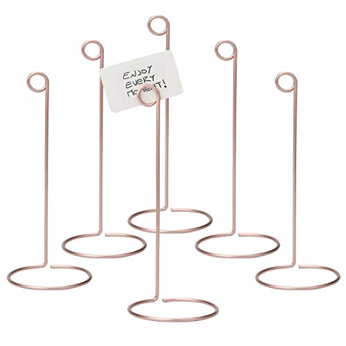 MyGift Set of 6 Rose Gold-Tone Metal Wire 10-Inch Business Card & Place Card Holders