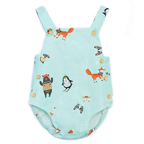 WOCACHI Newborn Infant Baby Girls Cartoon Whale Cat Stars Fox Print Sleeveless Romper Overall Button Bodysuit Clothes Outfits 2019 Summer Deals Under 5 Dollars Up to 30% 50% -