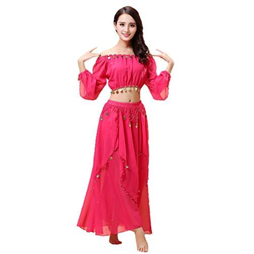 Maylong Women's Lantern Sleeve Belly Dance Skirt Halloween Costume DW60 (hot Pink) for $<!--$24.99-->